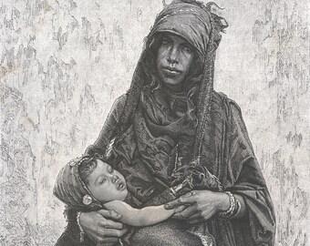 Palestine 1882, Sakkar Woman, Old Antique Vintage Engraving Art Print, Woman, Baby, Jewelry, Scarf, Dress, Simple, Bracelet, Headdress