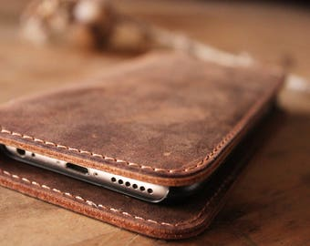 Personalized Leather iPhone Wallet, Leather iPhone Case,  iPhone walletcase, Distressed Leather