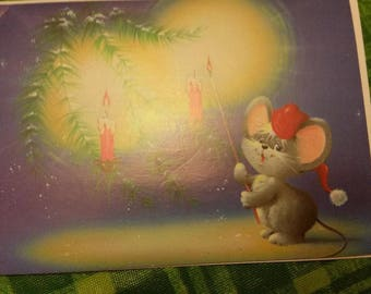 Vintage Greeting Card - Christmas Greeting Card - 1970s - Cute Mouse Lighting Candles