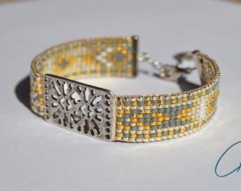 Woven bracelet Silvergolden beads Miyuki - grey silver, gold, white pearls