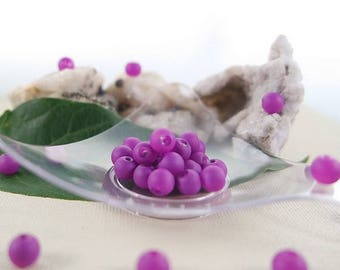 6 mm, hole: 1 mm purple Fluorescentes - 40 rubberized glass beads