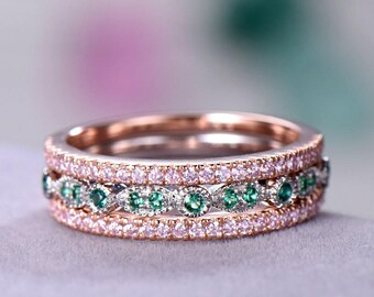 3pcs Half eternity wedding band Petite Wedding ring sets sterling silver with white/rose/yellow gold plated Pink / Green CZ gift for her