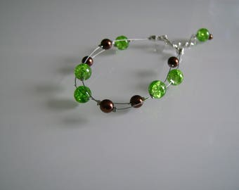 Bracelet jewelry fine delicate green lime/Apple/chocolate/brown pr dress of bride/wedding/party/ceremony/cocktail pearls (cheap)