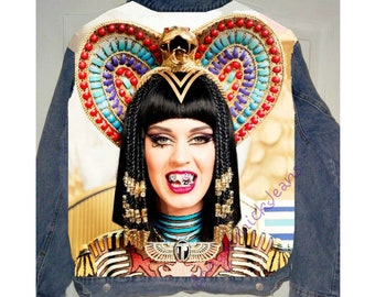 Hand painted denim jacket,Katy Perry dark horse,Katy Perry roar,Katy Perry Jacket,katy perry costume,hand painted jacket,painted jean jacket