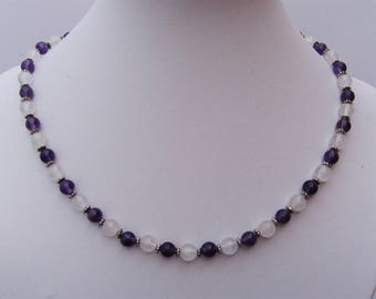 Necklace in amethyst and rose quartz - Pearl 6 mm