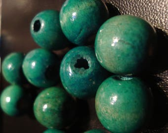 Turquoise wooden bead