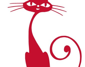 CAT With A Long Neck vinyl sticker decal