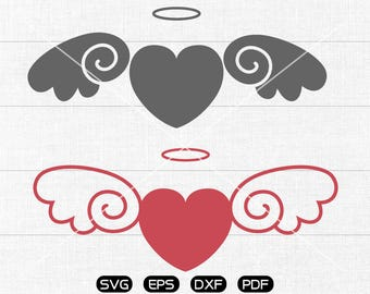 Angel LOVE SVG Files, Heart svg, Angel Clipart, cricut, cameo, silhouette cut files commercial & personal use