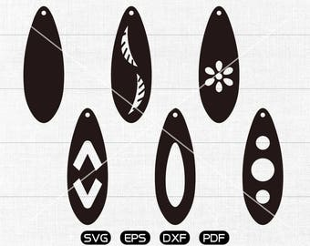 Teardrop with hole SVG, Ellipse svg, Teardrop earring svg, leather jewelry making Clipart, cricut, silhouette cut files commercial use