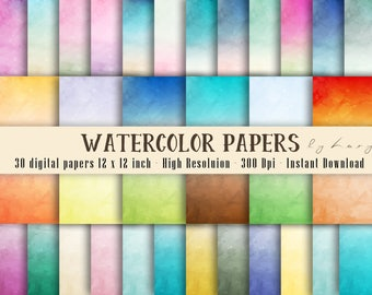 30 Ombre Watercolor Digital Papers in 12 x 12 inch 300 Dpi Instant Download, Scrapbook Papers, Colorful Papers, Commercial Use