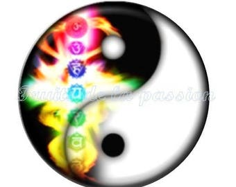 Set of 2 cabochon 18mm round glass, Yin Yang, multicolor