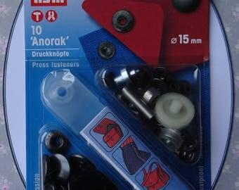 Boutons pression métal noir 15 mm - PRYM 390 302