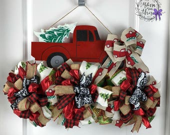 Red Truck Painted Wooden Door Hanger with Deco Mesh and Bows, Red Truck Christmas Tree, Christmas Door Hanger, Winter Door Hanger