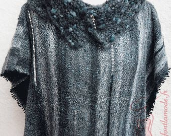 Black and gray poncho