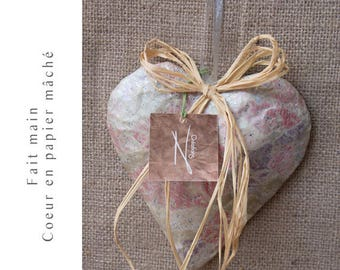 Paper mache heart handmade France