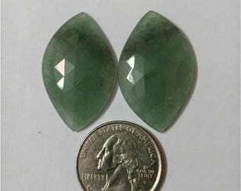 Jade green Rose cut slice Pair/ Marquise rose cut slice pair /Cabochon Slice/Natural jade green/Cabochon rose cut/Earring slice pair/loose