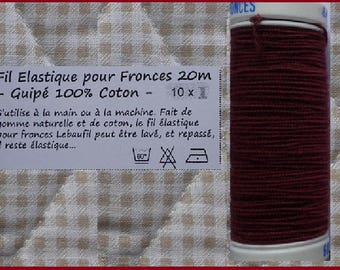 WIRE elastic Guipe for ruching or smocking color Burgundy - 20 m spool - Beaufil 1212 - has the unit