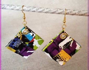 """Earrings made of recycled paper, laminated on the theme """"Music"""""""