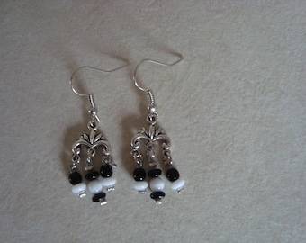 Black and white dangling earrings