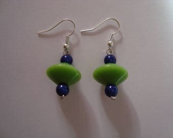 The pair of green and blue earrings
