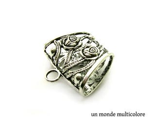 Bail filigree rose motif for pendants, charms 3.9 cm x 3.8 cm