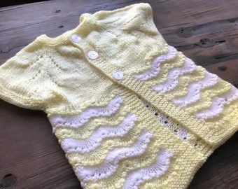 Canary Yellow and White Baby Cardigan