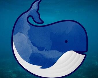 Watercolor Whale Adorable Vinyl Sticker/Decal