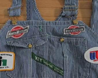 Vintage Key Imperial Overalls / Railroad Patches / Conductor / Bibs / 42 x 29