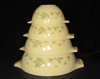 PYREX, Full Set of Four (4) Shenandoah/Wintergreen Cinderella Nesting BOWLS, # 441, 442, 443 and 444, vintage, 1960s, mixing bowls