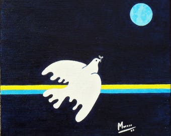 """EMPTY-workshop (50% deducted) painting - painting on canvas Board-""""the Dove""""."""