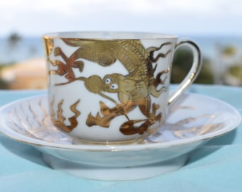 Vintage Japanese Egg Shell Porcelain Tea Cup and Saucer, Hand Painted Gold Dragon, Home Decor, Collectables, Asian Decor, Shabby Chic, Boho