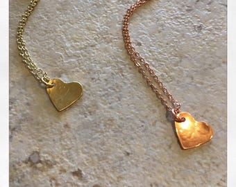 Dainty Heart Gold Rose Gold Necklace|Hammered Personalized Heart Pendent|Wedding Anniversary Bridesmaid Handmade Jewelry|