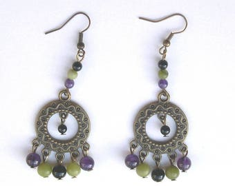 EARRINGS ethnic EARRINGS bronze chandelier with gemstones beads