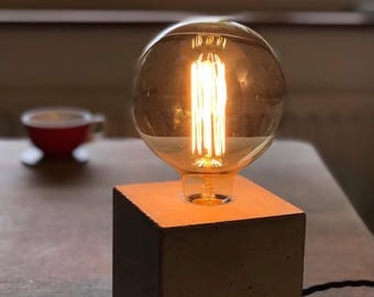 Grey Concrete Box Lamp - Edison bulb