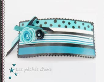 Gradient of blue and black striped Barrette