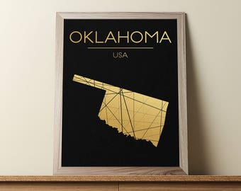 Oklahoma Wall Art, Oklahoma Poster, Oklahoma Map, Oklahoma State Sign, Oklahoma Print, Oklahoma Map Print, Geometric Art, JPG