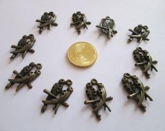 10 breloque oiseaux couple perruche en métal bronze 24 X 16 mm