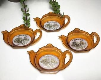 Vintage California Teapot Tea Bag Holders - Set of 4