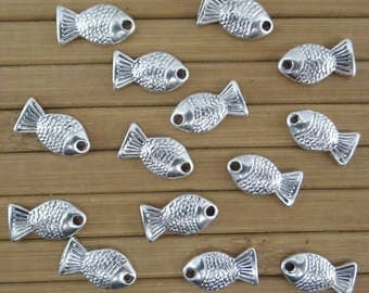 14 charms connectors pendants fish bc158 antiqued silver-plated