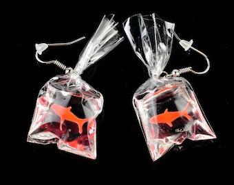 Cute Goldfish in a Bag Earrings