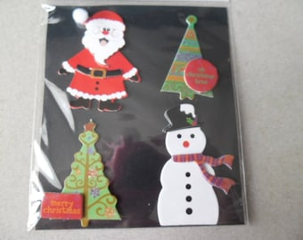 x 4 multicolor Christmas themed 3D stickers stickers