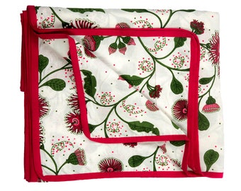 Summer Quilt,Lounge Throw,Throws,Bedspreads,Double Bed,Australian Floral Design,Queen Quilt,Bed Cover,Blanket,Red and White,Bedding Gift