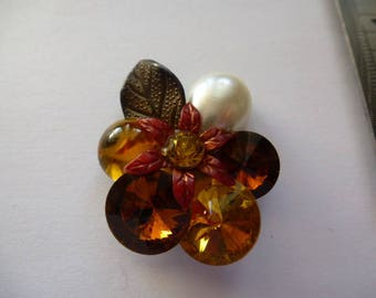 cabochon Pearl drop Pearl and Topaz and citrine rhinestones acrylic material