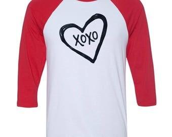 XOXO LOVE Baseball Raglan, Valentines Day Shirt, Custom Valentines Day Gift, Gift for Her, Youth Valentines Day Shirt, Heart, Valentines