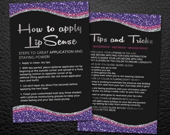 LipSense Tips And Application Cards, LipSense How to Apply, Lipsense Application Card, Lipsense Tips & Tricks, For SeneGence Distributors