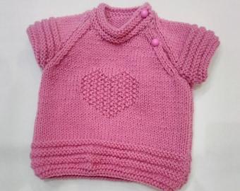 Baby girl vest knitted girl vest pink vest for girl Hand knitted baby vest, jacket knit baby clother Wool knit baby vest Knit vest for child