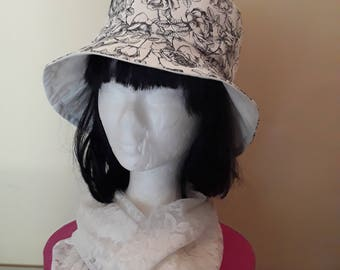 Chapeaux, chapeau de femme, chapeau en tissu noir et blanc