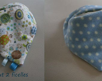 "RESERVED Claire_Bandana fleece baby ""little turtles"""