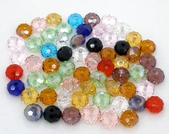 PC27 - Set of 20 mixed colors faceted round Crystal beads