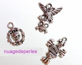 3 pendant cross skull snake Gothic Tibetan silver skull charms
